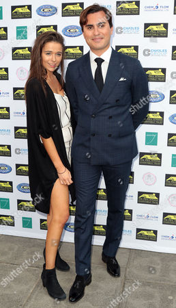 Jul 05 2017 - London England Uk - Paul Strank Charitable Trust Summer Party Mint Leaf Piccadilly - Outside Arrivals Photo Shows: Geo Rushby and Raef Bjayou(credit Image: