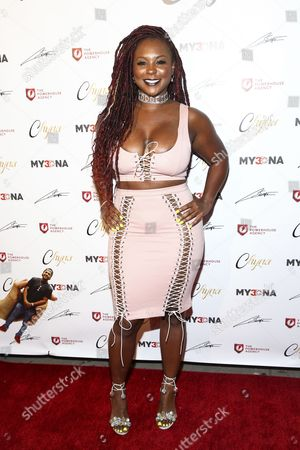 Torrei Hart attends the Blac Chyna Figurine Doll Launch Party held at MVA Studio, in Los Angeles
