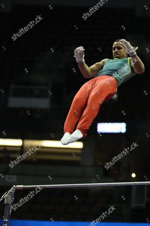 Gymnast Trevor Howard competes in the first day of the senior men's competition at the P&G Championships in Anaheim, CA. Melissa J