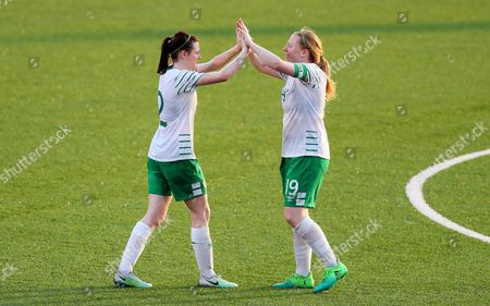 2017 World University Games, Women's Football First Round Group B, Hsinchu County Second Stadium, Taipei, Taiwan 18/8/2017. Ireland vs Mexico. Ireland's Jetta Berrill with Ambra Barrett after the game