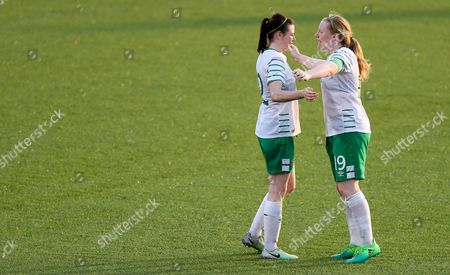Stock Picture of 2017 World University Games, Women's Football First Round Group B, Hsinchu County Second Stadium, Taipei, Taiwan 18/8/2017. Ireland vs Mexico. Ireland's Jetta Berrill with Ambra Barrett after the game