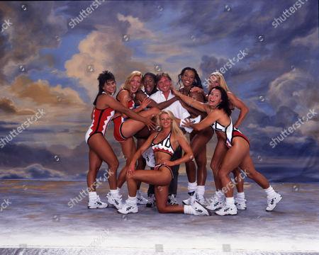 Stock Image of Gladiators female lineup joke around with producer Ken Warwick. Season 7 1998