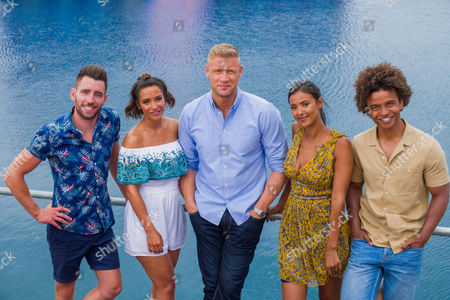 Ryan Hand, Frankie Bridge, Andrew 'Freddie' Flintoff, Maya Jama and Radzi Chinyanganya.