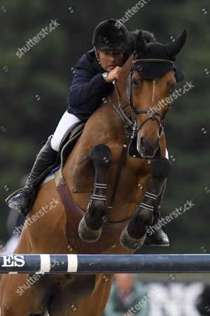 Robert Whitaker of Britain on Catwalk IV is on his way to the second place during the Maxinos competition, a five star horse jumping competition with a price money of 75'000 Swiss francs, at the Longines CSI St. Moritz horse jumping competition, in St. Moritz, Switzerland, 18 August 2017.