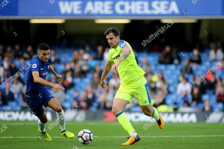 Derby's George Thorne in action as Chelsea's Isaac Christie-Davies looks on during Chelsea Under-23 vs Derby County Under-23, Premier League 2 Football at Stamford Bridge on 18th August 2017