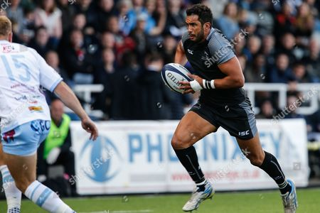 Maxime Mermoz sets off at pace. during the pre-season warm up match at Kingston Park. Newcastle Falcons v Rotherham Titans on Saturday 19th August 2017 at Kingston Park, Newcastle upon Tyne.