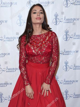 Christiana Leucas arrives at the 32nd annual Imagen Awards at the Beverly Wilshire Hotel, in Beverly Hills, Calif