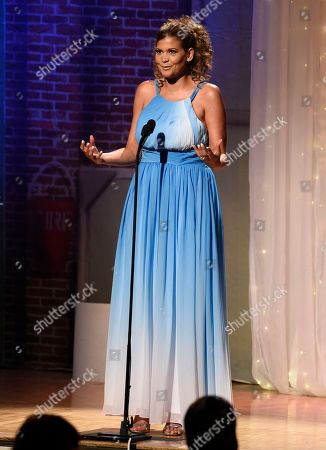 Aida Rodriguez speaks at the 32nd annual Imagen Awards at the Beverly Wilshire Hotel, in Beverly Hills, Calif