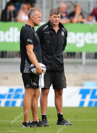 Exeter Chiefs Assistant Coach, Robin Hunter Exeter Chiefs Director of Rugby, Rob Baxter during the Pre Season match between Exeter Chiefs and Cornish Pirates at Sandy Park on August 19th 2017, Exeter, Devon.