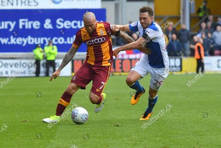 Bradford City midfielder Nicky Law (7)  and Blackburn Rovers midfielder Corry Evans (29) during the EFL Sky Bet League 1 match between Bradford City and Blackburn Rovers at the Northern Commercials Stadium, Bradford