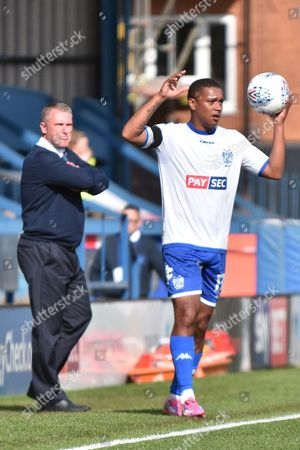 Bury Midfielder, Chris Humphrey (17) and Bury Manager, Lee Clark  during the EFL Sky Bet League 1 match between Bury and Bristol Rovers at the JD Stadium, Bury