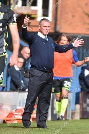 Bury Manager, Lee Clark during the EFL Sky Bet League 1 match between Bury and Bristol Rovers at the JD Stadium, Bury