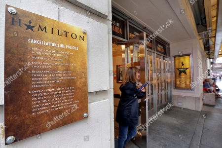"""The cancellation line policies for the Broadway show """"Hamilton,"""" at the Richard Rogers Theatre in New York's Theater District, are posted . The still incredibly popular show """"Hamilton"""" announced this week that it would be the latest to offer up a new block of tickets for sale using new technology, called """"Verified Fan,"""" to try to keep re-sellers and brokers from snapping them all up"""