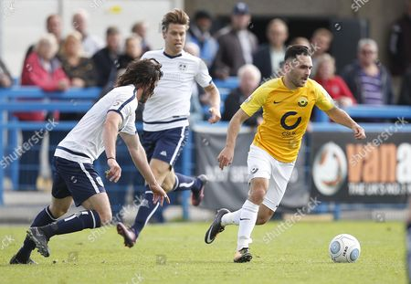 Torquay United player Jake Gosling attacking during the English National League game between Guiseley and Torquay United at Nethermoor Park on Aug 19