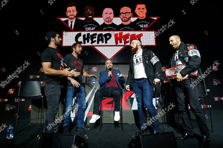 Seth Rollins, Dean Ambrose, Cesaro, Sheamus, Peter Rosenberg WWE Superstars Seth Rollins, Dean Ambrose, Cesaro and Sheamus are seen at the WWE 2K18 SummerSlam Kickoff Event with WWE Network Host Peter Rosenberg, in New York