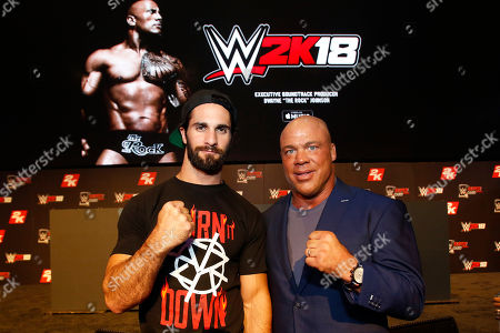 Seth Rollins, Kurt Angle WWE 2K18 Cover Superstar Seth Rollins and WWE Hall of Famer Kurt Angle seen at the WWE 2K18 SummerSlam Kickoff Event, in New York