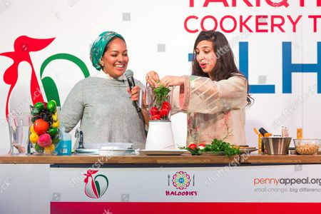 Shelina Permalloo previous Master Chef winner helps Saliha Mahmood Ahmed, winner of Master Chef 2017 in a cooking demo at the Halal Food Festival