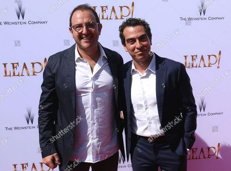 """Laurent Zeitoun, Yann Zenou Producers Laurent Zeitoun, left, and Yann Zenou arrive at the LA Premiere of """"Leap!"""", in Los Angeles"""