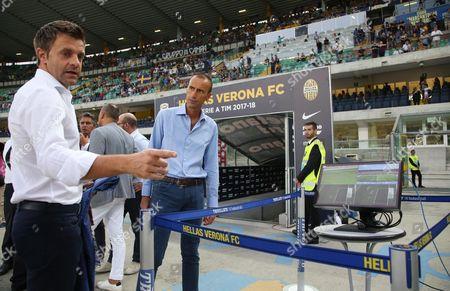 Italian referees designator, Nicola Rizzoli (L), checks on the VAR system prior the Italian Serie A soccer match Hellas Verona FC vs SSC Napoli at Bentegodi stadium in Verona, Italy, 19 August 2017.