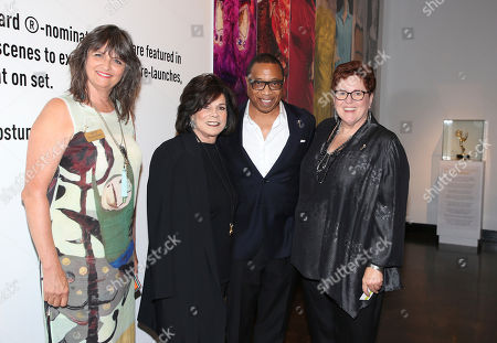 "Hayma Washington, Toni Hohberg, Terry Ann Gordon, Sue Bub Television Academy's Terry Ann Gordon, President of FIDM, from left, Toni Hohberg, Television Academy Chairman and CEO, Hayma Washington, and Television Academy's Sue Bub at the 11th annual ""Art of Television Costume Design"" opening at the FIDM Museum & Galleries on the Park on in Los Angeles"