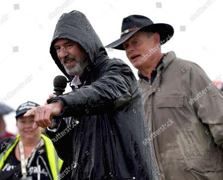Neil Morrissey joins Martin Clunes in the rain to judge the 'Dog Bitch most like Neil Morrissey ' contest, Buckham Fair, Dorset, UK