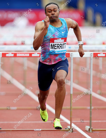 Stock Picture of Aries Merritt of USA on his way to winning the Mens 110m hurdles.