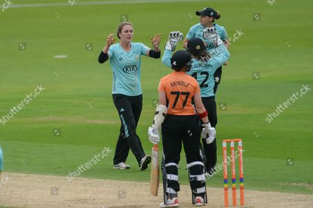 Natalie Sciver and Tammy Beaumont of Surrey Stars celebrate the wicket of Arran Brindle   during the Women's Cricket Super League match between Southern Vipers and Surrey Stars at the Ageas Bowl, Southampton
