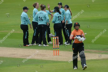 Surrey Stars celebrate the wicket of Arran Brindle of Southern Vipers during the Women's Cricket Super League match between Southern Vipers and Surrey Stars at the Ageas Bowl, Southampton