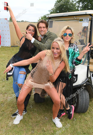 Lewis Bloor and girlfriend (left), Daisy Robins (front) and Nadia Essex (right)