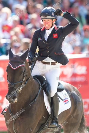Nicola Wilson of Britain on horse Bulana during jumps competition of the FEI European Championships Eventing in Strzegom, Poland, 20 August 2017.