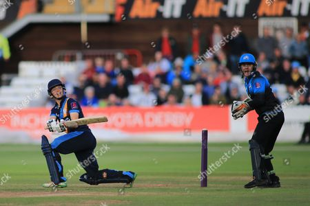 Callum Brodrick of Derbyshire reverse sweeps and is caught by Alex Hepburn of Worcestershire during the Natwest T20 Blast North Group match between Derbyshire County Cricket Club and Worcestershire County Cricket Club at the 3aaa County Ground, Derby