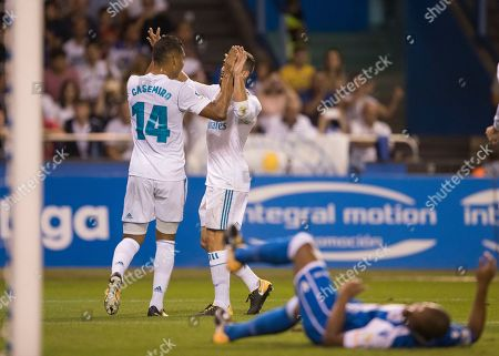 Casimiro, Carbajal Real Madrid's Carlos E. Casemiro, left, celebrates with Real Madrid's Carbajal after scoring the second goal agains Deportivo during a Spanish La Liga soccer match between Deportivo and Real Madrid at the Riazor stadium in Coruna, Spain
