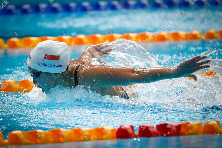 Singapore's Quah Jing Wen competes during the Women 200M Butterfly Swimming final of the 29th South East Asian Games in Kuala Lumpur, Malaysia