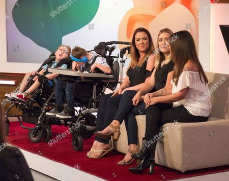 Zoe Blomfield with son Wilson, Laura Moore with son William, Linda Lusardi