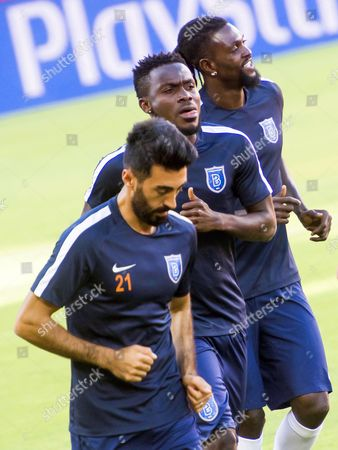Mahmut Tekdemir, Joseph Attamah and Emmanuel Adebayor