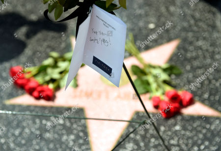 "An inscription from the Hollywood Historic Trust reads ""Keep them laughing Jerry!"" during a memorial wreath ceremony for the late comedy icon Jerry Lewis at his star on the Hollywood Walk of Fame, in in Los Angeles. Lewis died at 91 on Sunday in Las Vegas, NV"