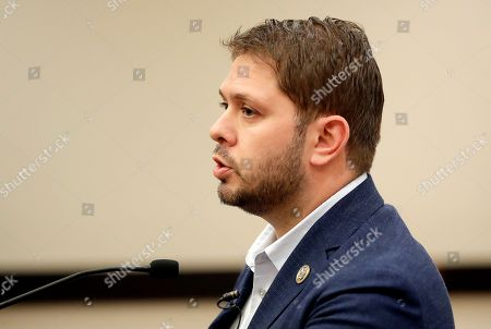 U.S. Rep. Ruben Gallego, D-Ariz., speaks during a news conference, in Phoenix. Arizona and national democratic party leaders held a press conference to discuss President Donald Trump's upcoming rally in Phoenix on Tuesday
