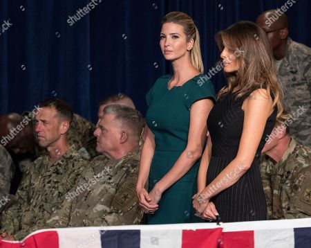 Melania Trump, Ivanka Trump Ivanka Trump, the daughter of President Donald Trump, and first lady Melania Trump stand together before President Donald Trump arrives to speak at Fort Myer in Arlington Va., during a Presidential Address to the Nation about a strategy he believes will best position the U.S. to eventually declare victory in Afghanistan