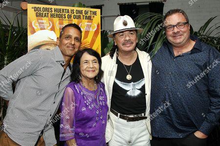 Stock Photo of Peter Bratt, Dolores Huerta, Carlos Santana, Brian Benson