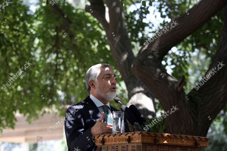 """Afghanistan's Chief of Executive, Dr. Abdullah Abdullah, talks during a press conference in Kabul, Afghanistan, . Reversing his past calls for a speedy exit, Trump recommitted the United States to the 16-year-old war in Afghanistan Monday night, declaring U.S. troops must """"fight to win"""
