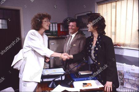Anne Kirkbride (as Deirdre Barlow), Johnny Briggs (as Mike Baldwin) and Shirin Taylor (as Jackie Ingram)