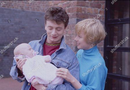 Thomas Ormson (as David Platt), Sean Wilson (as Martin Platt) and Sally Dynevor (as Sally Webster)