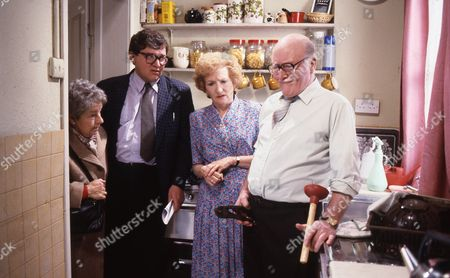 Cast members, Eileen Derbyshire (as Emily Bishop) and Bill Waddington (as Percy Sugden)