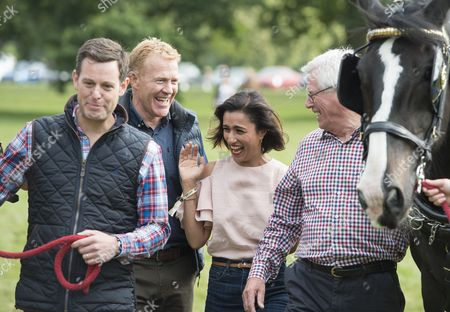 The Countryfile Tv Presenters At The Countryfile Live Event At Blenheim Palace In Oxfordshire. Matt Baker Adam Henson Anita Rani John Craven. 04/08/2016 Writer David Leafe.