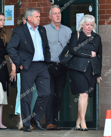 Editorial image of Sadie Hartley Murder Trial At Preston Crown Court Preston Lancs. (l To R) Graham Cook The Brother Of Sadie Hartley Garry Hartley Ex-husband Of Sadie Hartley With Julie Taylor The Best Friend And Business Partner Of Hartley. Pic Bruce Adams / Copy Nor