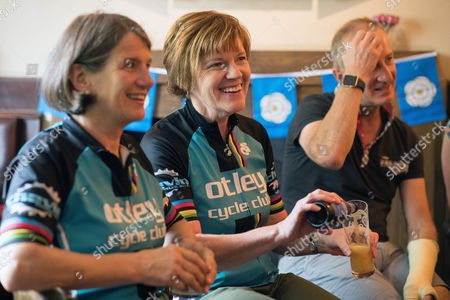 Ann Howe And Jill Birch Local Otley Cycle Club Members Watch Lizzie Armitstead Race In The Olympics. Aug 7th 2016 - Otley UK. Lizzie Armistead Olympics