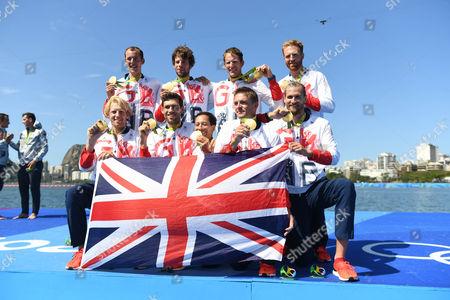 Team Gb Rowing Mens Eight Scott Durrent Tom Ransley Andrew T Hodge Matt Gotrel Pete Reed Paul Bennett Matt Langridge William Satch Phelan Hill. Rio Olympics Brazil.