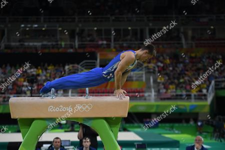 Editorial photo of Matt Whitlock Competes On The Pommell Horse At The Brazil Olympics 2016. Whitlock Won The Gold Medal For His Routine.