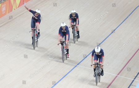 Stock Image of Laura Trott. Team Gb Women's Team Pursuit Qualifying Elinor Barker Joanna Roswell-shand Laura Trott And Katie Archibald Celebrate Setting A New World Record Rio Olympics Brazil.