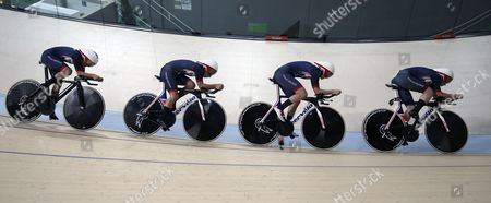 Stock Photo of Laura Trott. Team Gb Women's Team Pursuit Qualifying Of Elinor Barker Joanna Roswell-shand Laura Trott And Katie Archibald Rio Olympics Brazil.